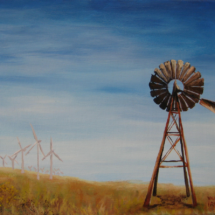 2017 Modern Landscape with Old Windmill, 14x11-Acrylic-on-Canvas