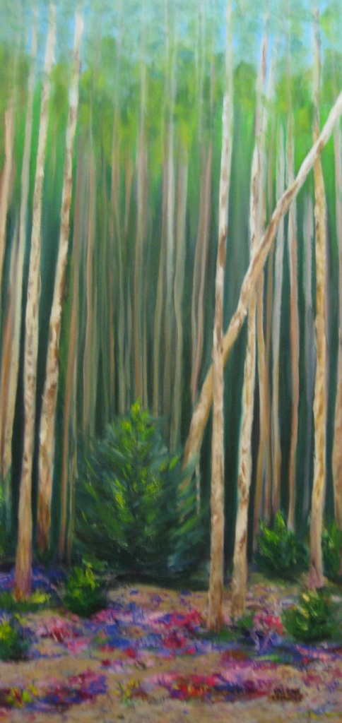 North of 60 – Aspen Forest in June #1 15x30 Oil on canvas